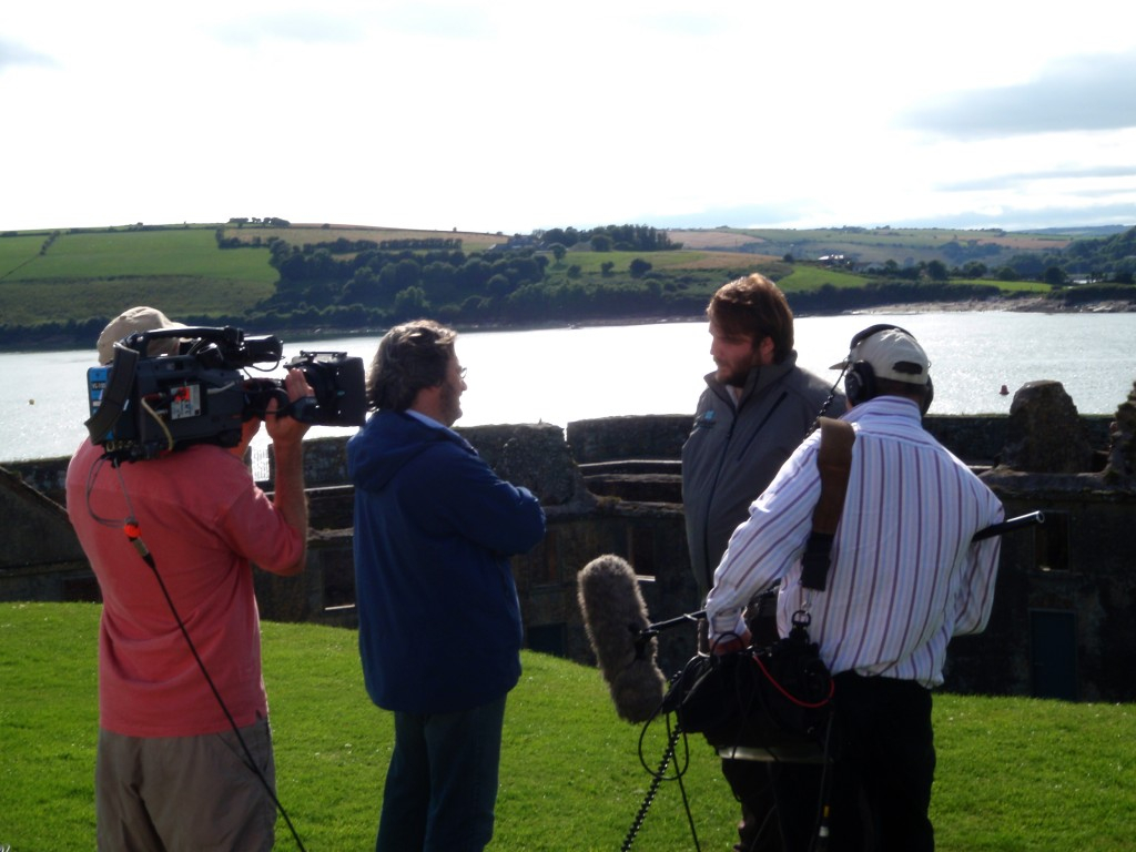 The Story of Ireland team and Fergal Keane filming with Damian in Charles Fort, Kinsale