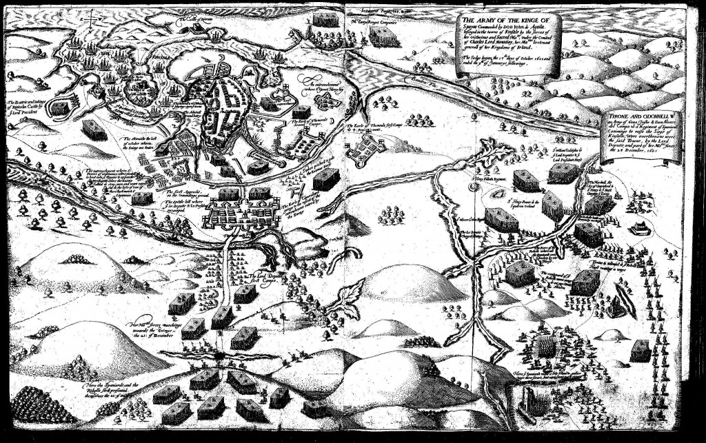 The Siege and Battle of Kinsale, 1601. The Lord Deputy's Camp is in the centre left of the image.