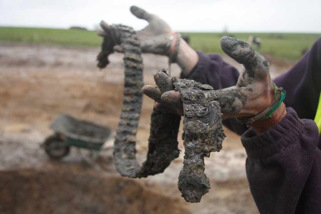 The medieval leather belt just after its discovery in the well