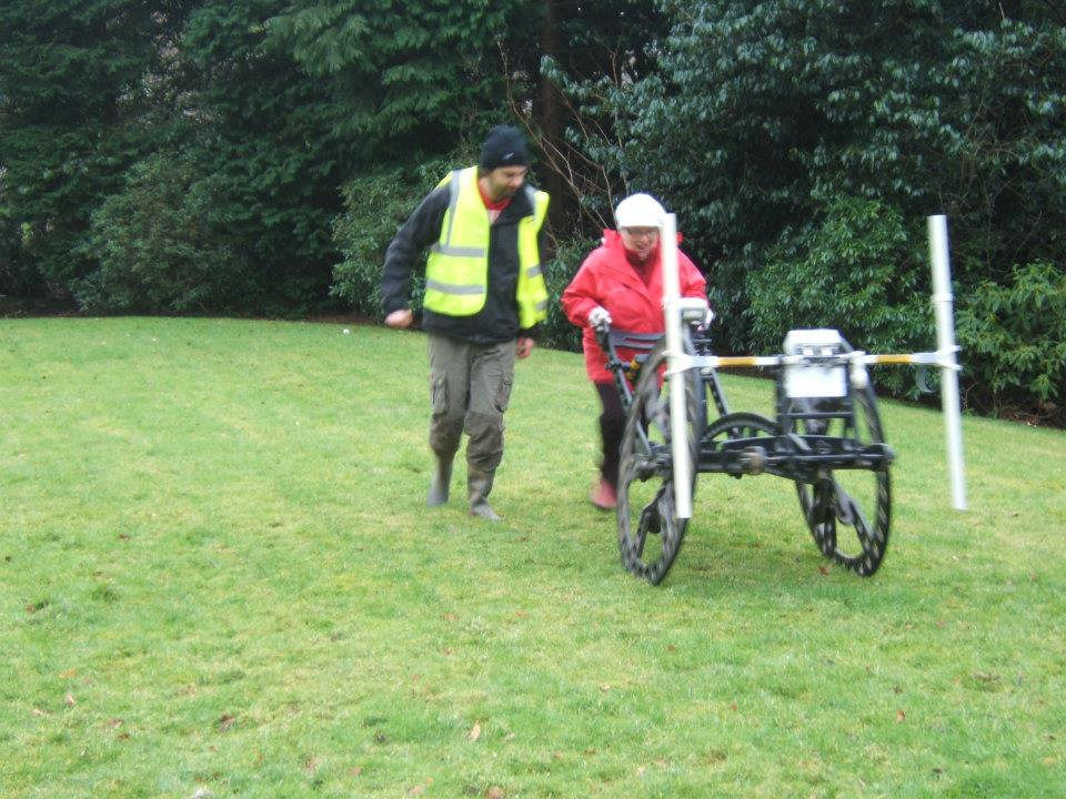 One of the Logie Old Kirk Society trying out the Rubicon Geophysics Cart