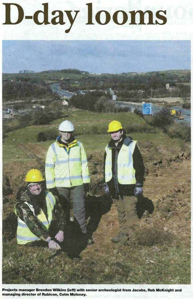 Nothing to do with weaving or Normandy Landings - but contentious headlines need a steady hand! Here Rubicon MD Colm Moloney with Project Manager Brendon Wilkins, and Rob McNaught from Jacobs, invite the press to see some of our first trenches being excavated.