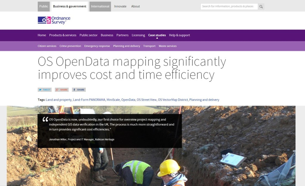 Rubicon Heritage Services Ltd Case Study on the Ordnance Survey Website