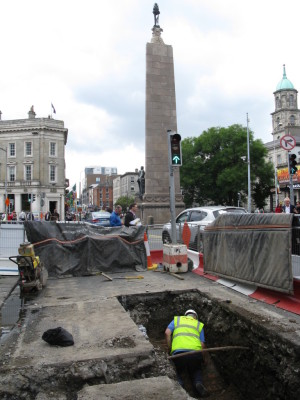 Rubicon's Peter Kerins at work this week in Dublin City Centre, in the shadow of the Parnell Monument (James Hession)