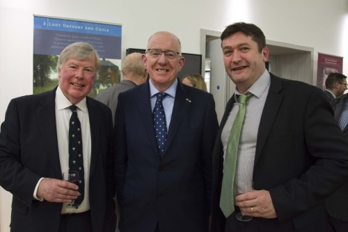 Alan Taylor (President of Queens University Association Scotland), Charlie Flanagan TD (Minister for Foreign Affairs) and Colm Moloney (MD of Rubicon Heritage)