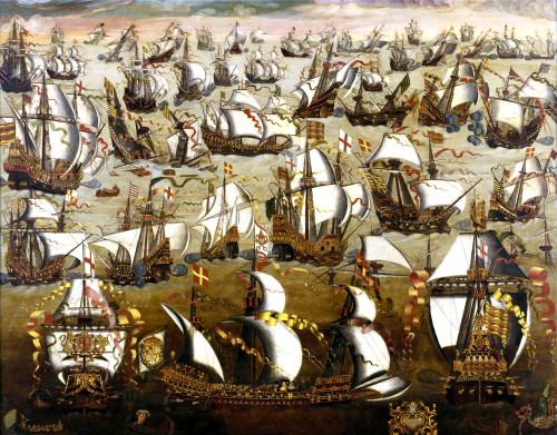 English ships engage the Armada, 1588 (Wikipedia)