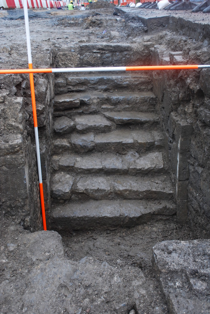 One of the more spectacular discoveries are these stairs leading to a cellar, which is either medieval or early post-medieval in date (Copyright Rubicon Heritage)