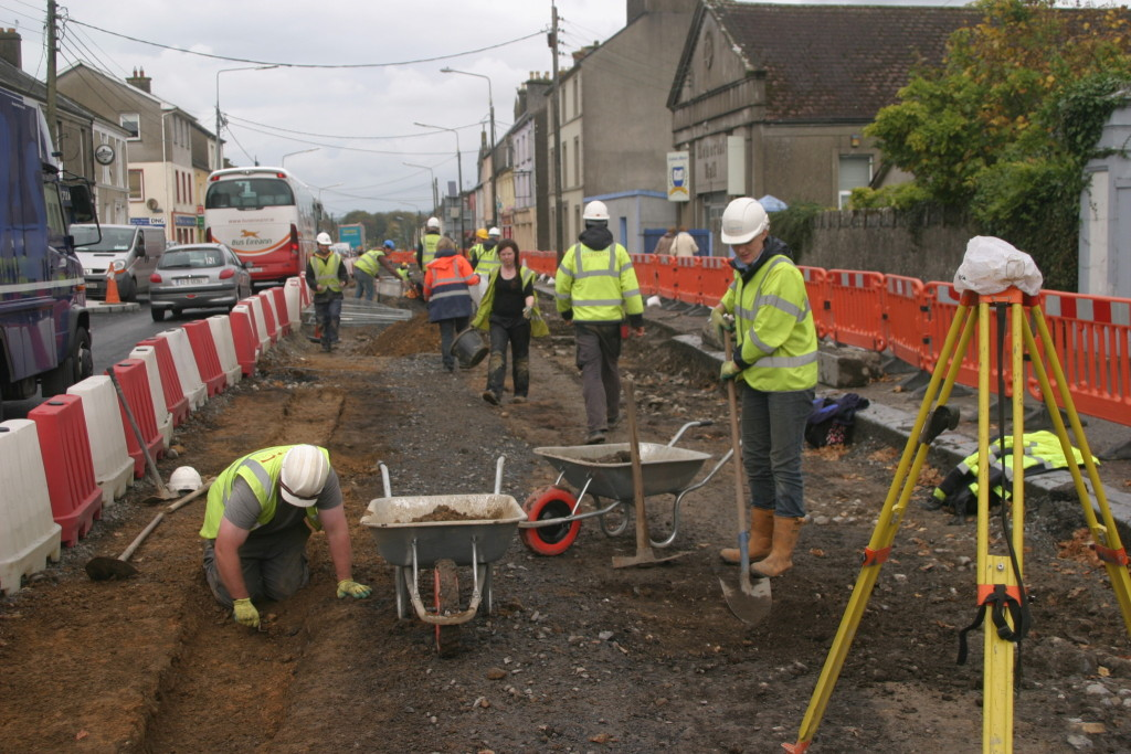 The array of cobbles, ditches and other archaeological features relating to medieval Buttevant being uncovered in the town (Copyright Rubicon Heritage)