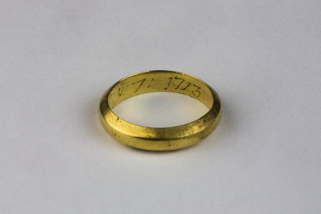 Although there have been relatively few finds thus far, one of the nicest was this gold posy ring. This image shows the year '1713' inscribed inside it (Copyright Rubicon Heritage)
