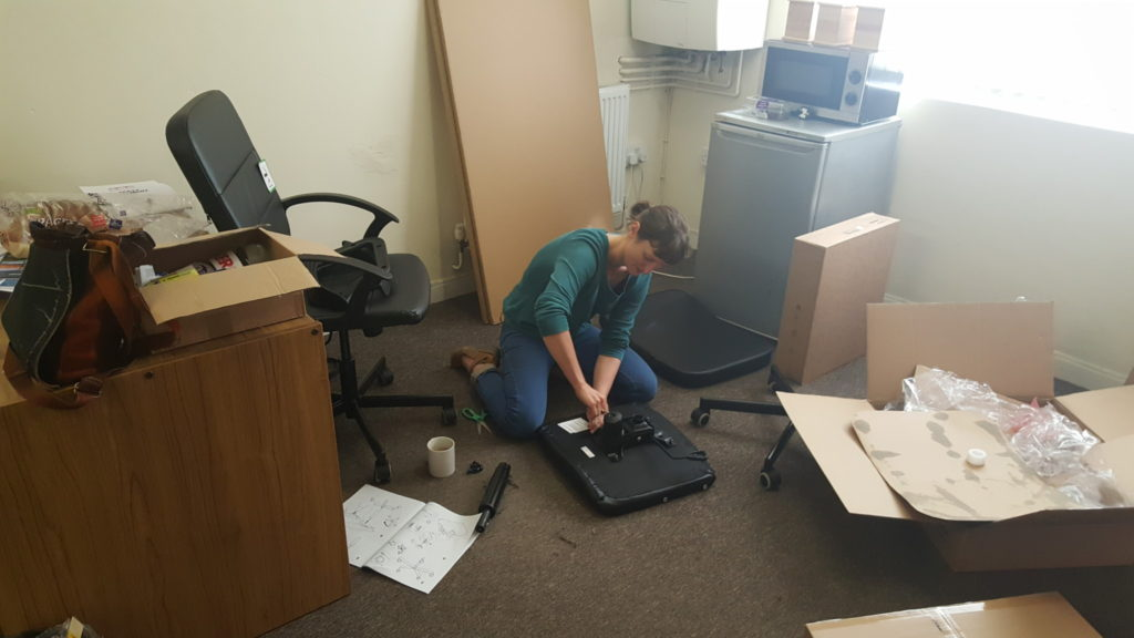 Construction in-progress on the essential office furniture!
