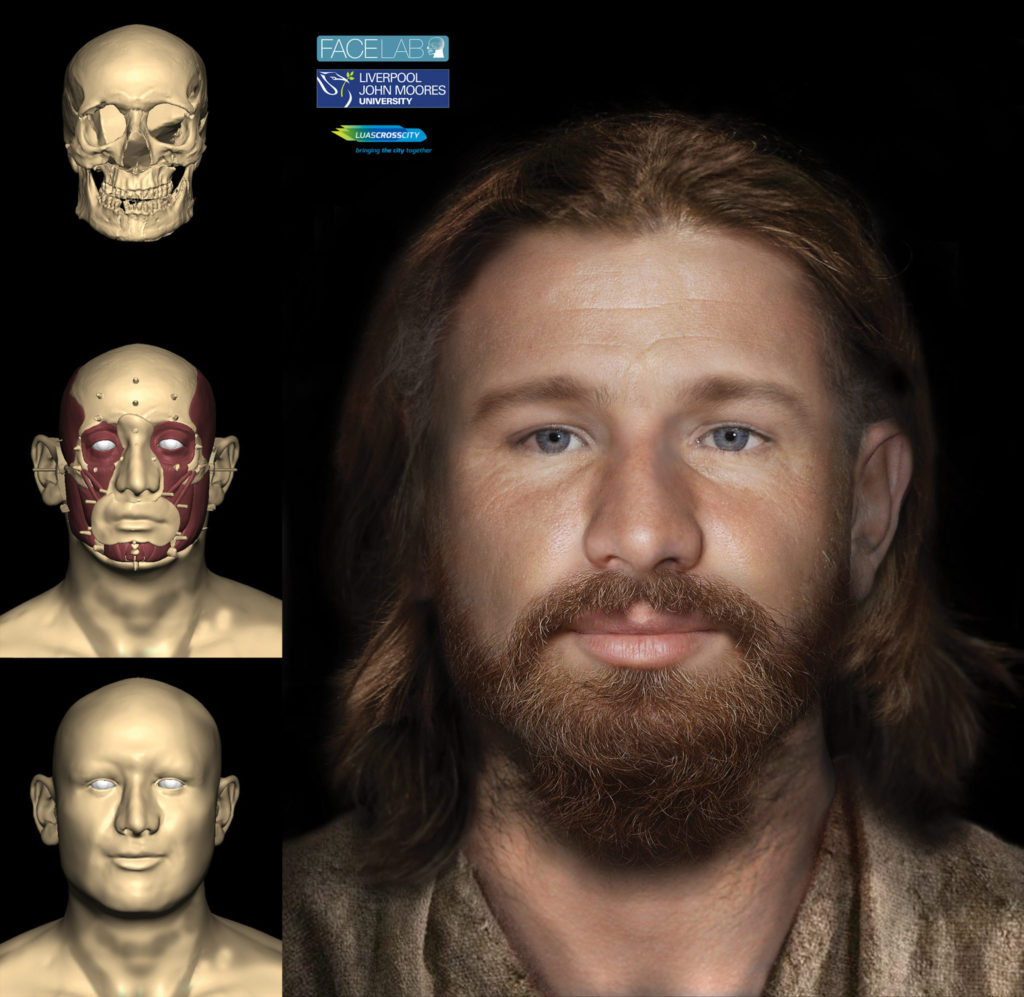 Digital facial reconstruction of Tudor Dubliner with intermediate modelling stages shown on left