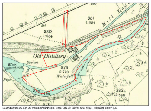 Historic mapping depicting the distillery